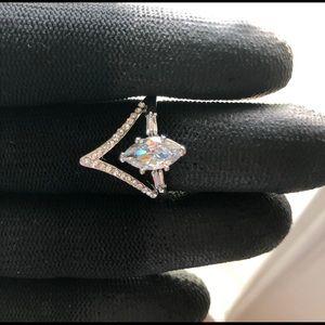 Ring Zircon Silver for Women Alloy Jewelry